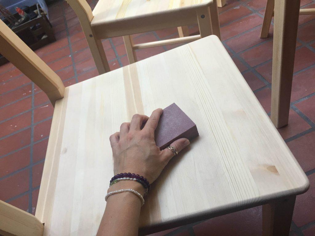 pine chair sanding