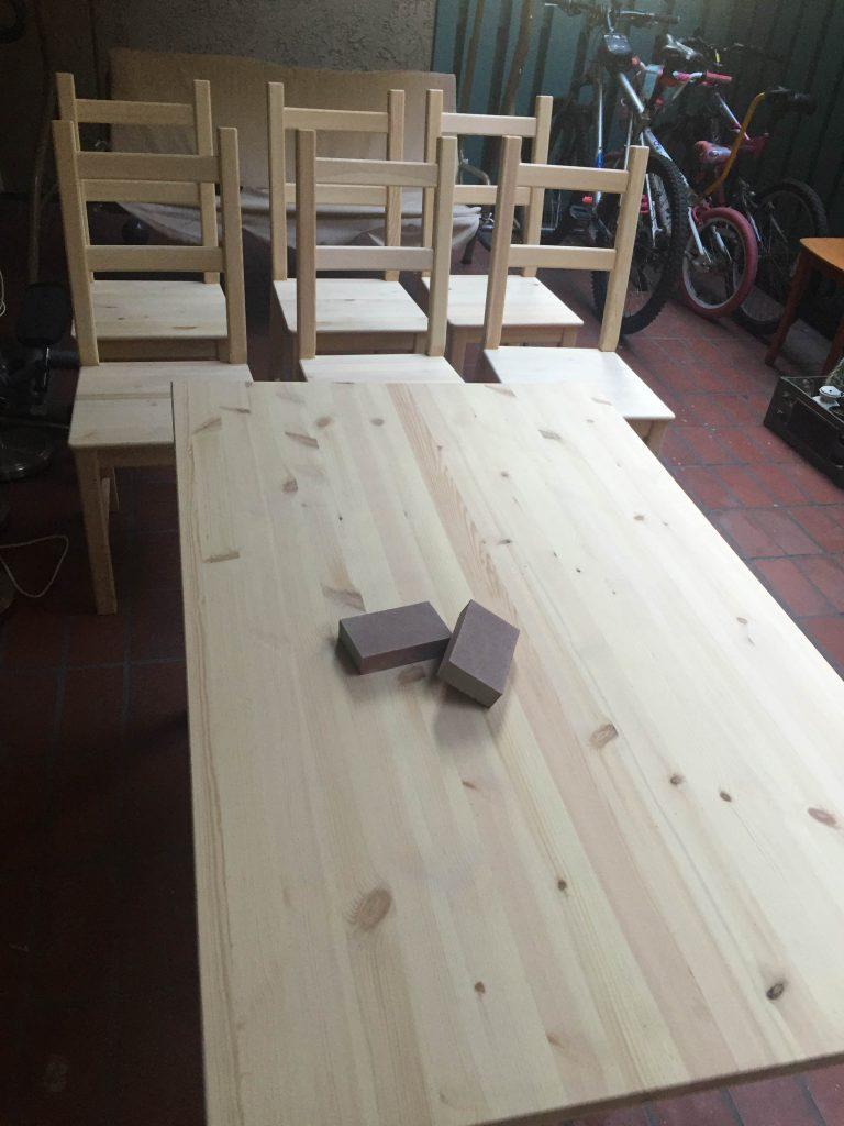 sanding pine table