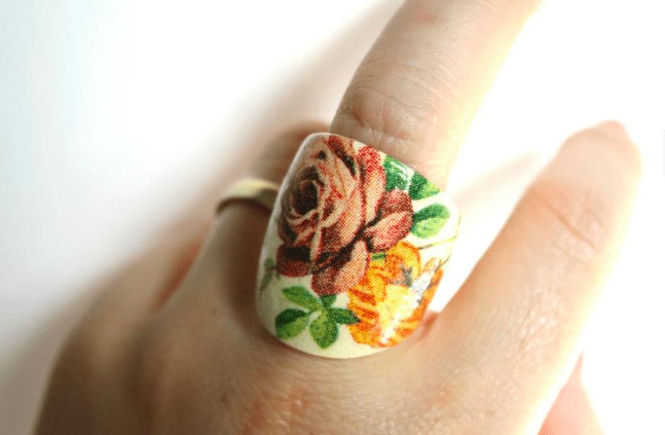 pierścionek decoupage