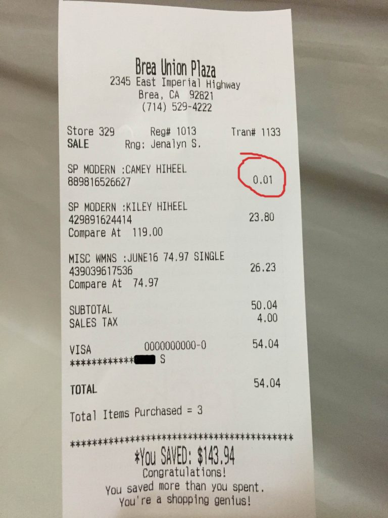 Nordstrom Rack receipt